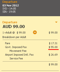 Australia departure tax