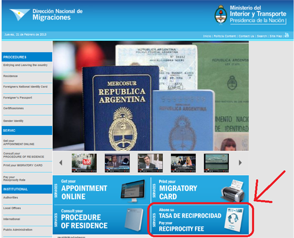 Argentine Migration website. Reciprocity fee